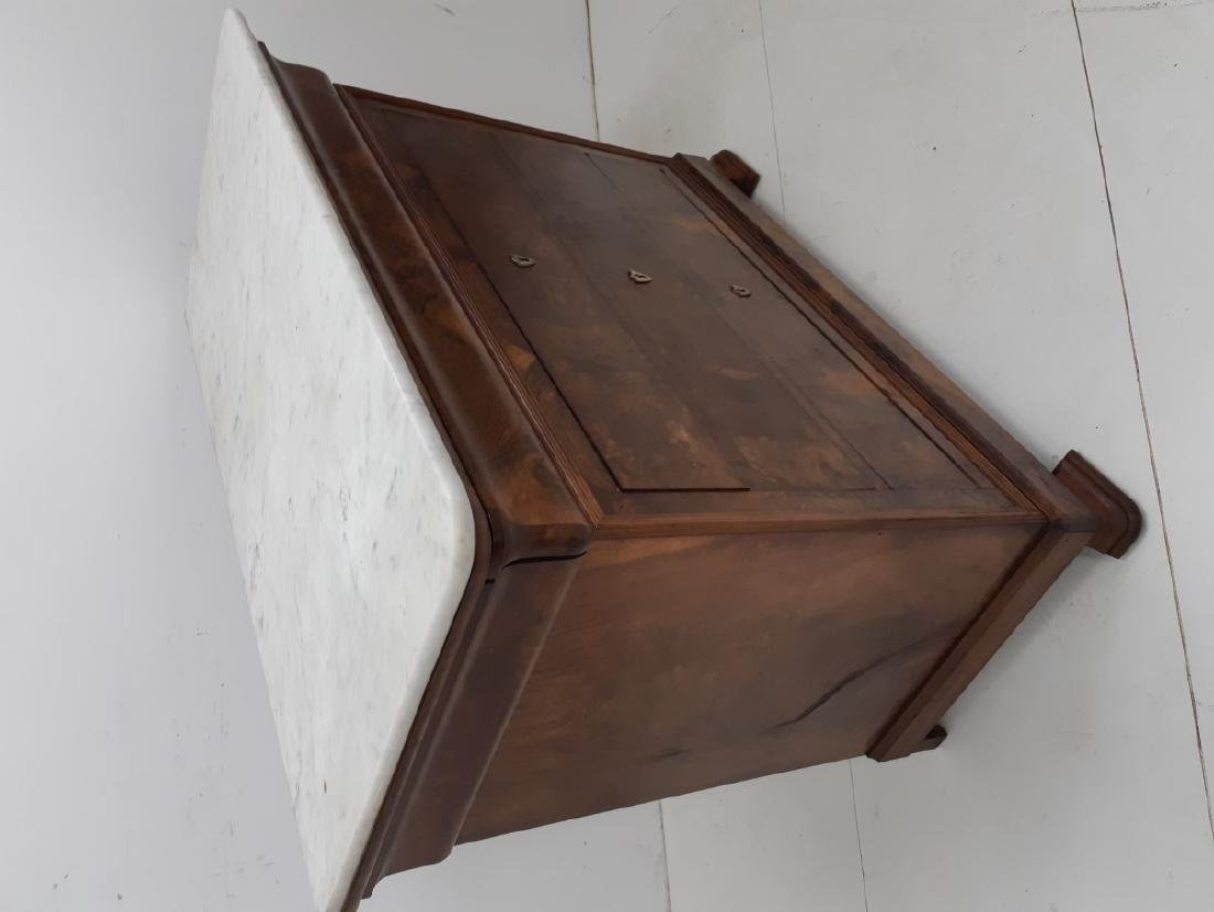 LOUIS PHILIPPE WALNUT MARBLE TOP COMMODE - 2