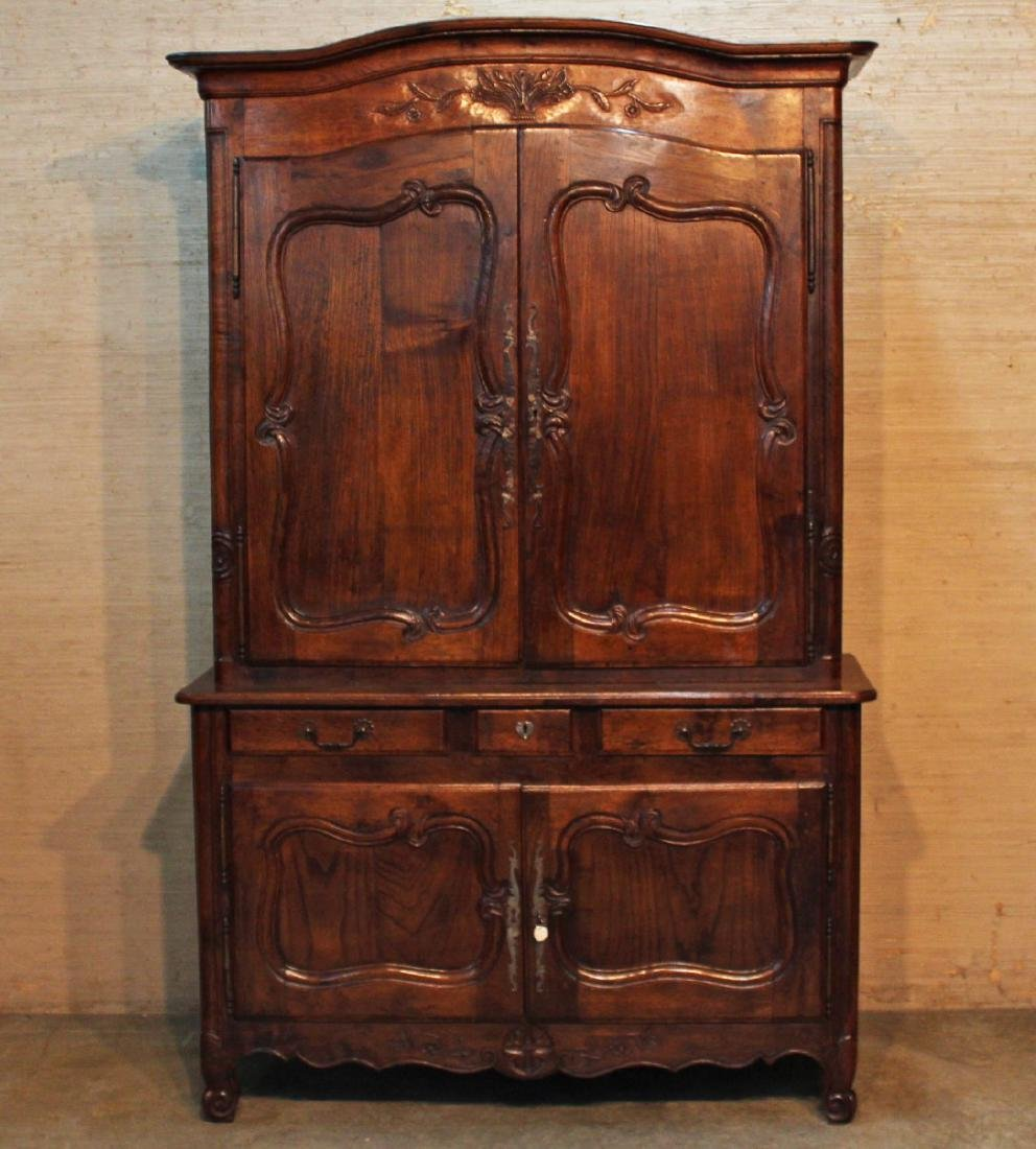 FRENCH FIGURED ELM AND OAK BUFFET DEUX CORPS - 2