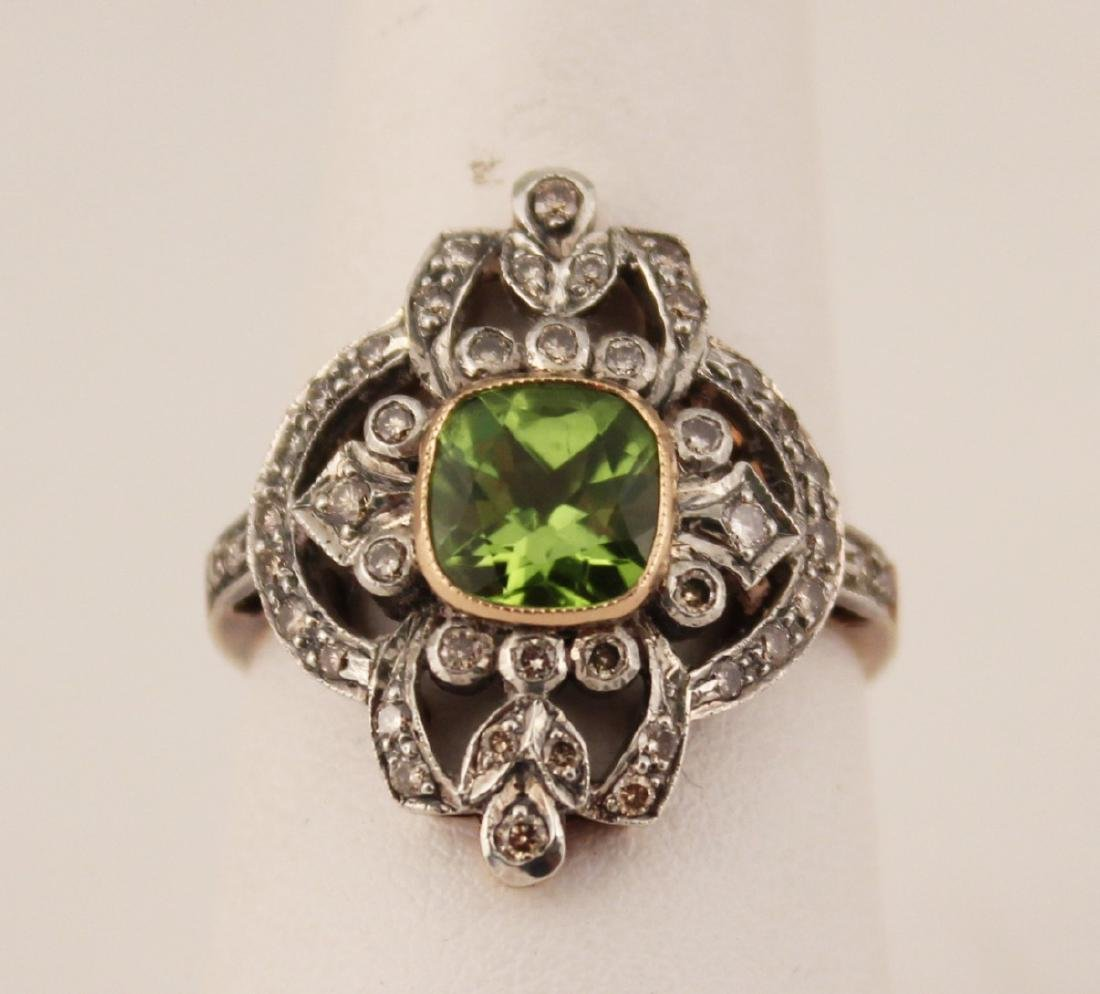 18K DIAMOND AND PERIDOT RING