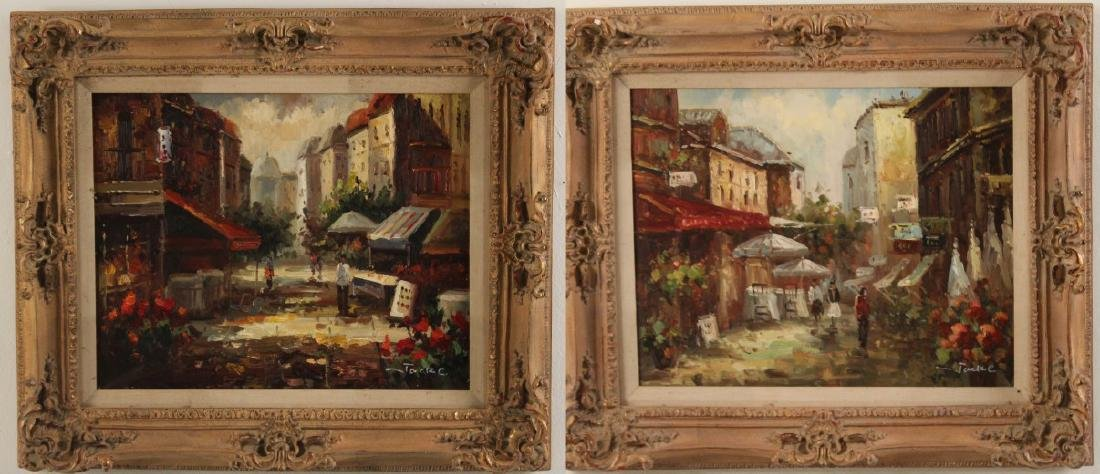 PR. OF 20TH C. O/C FRENCH STREET SCENE PAINTINGS