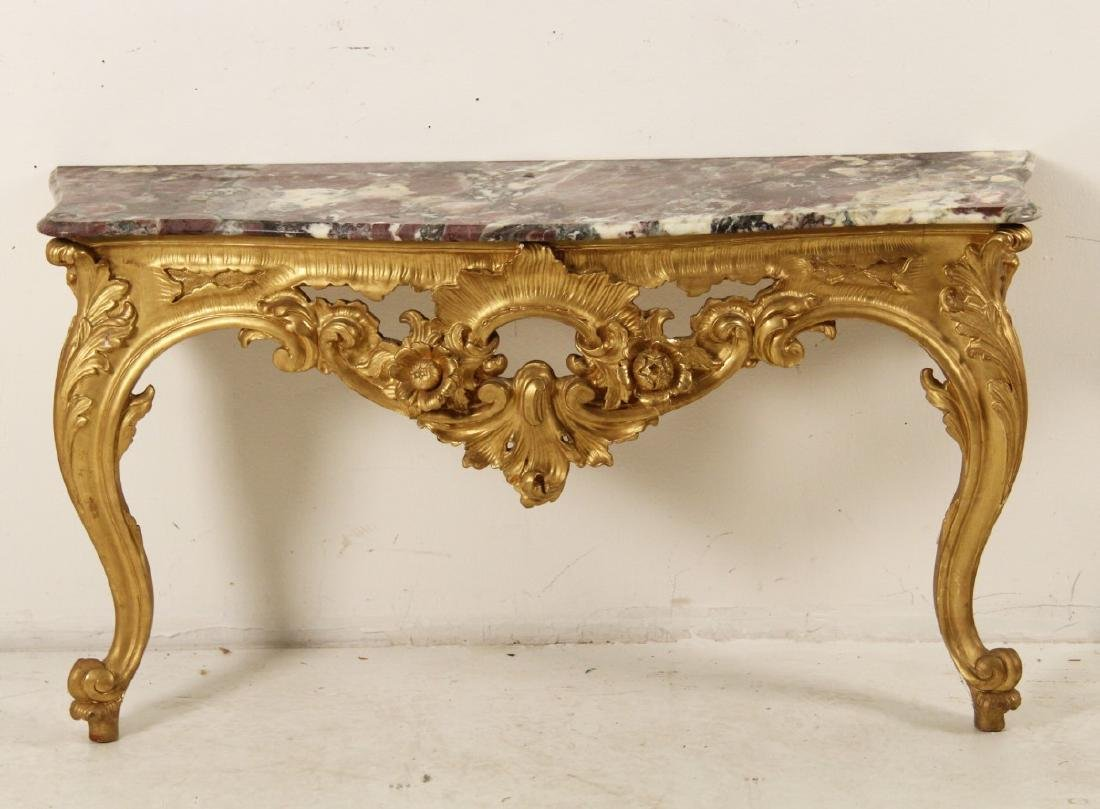 19TH C. GILTWOOD MARBLE TOP CONSOLE TABLE