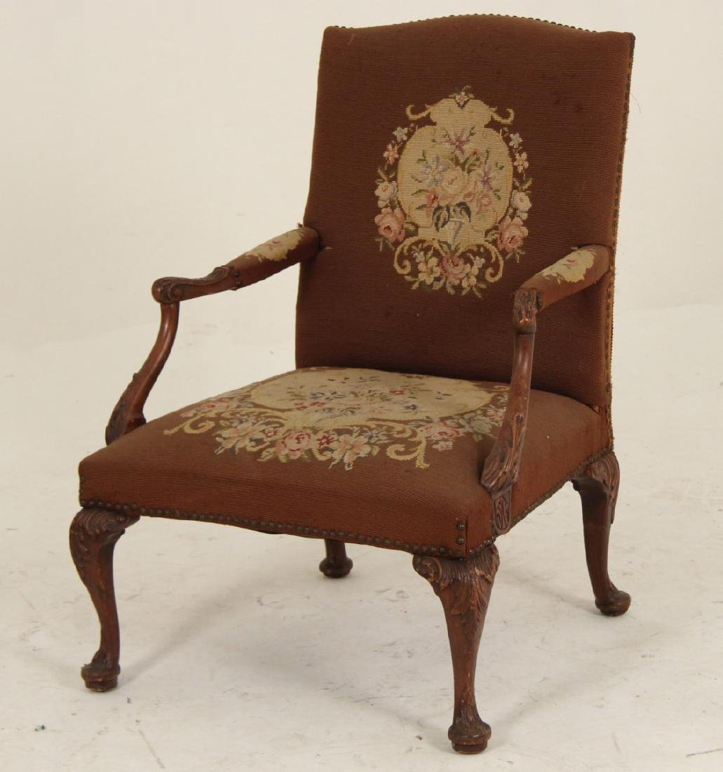 MAHOGANY NEEDLEPOINT GAINSBORO STYLE ARM CHAIR
