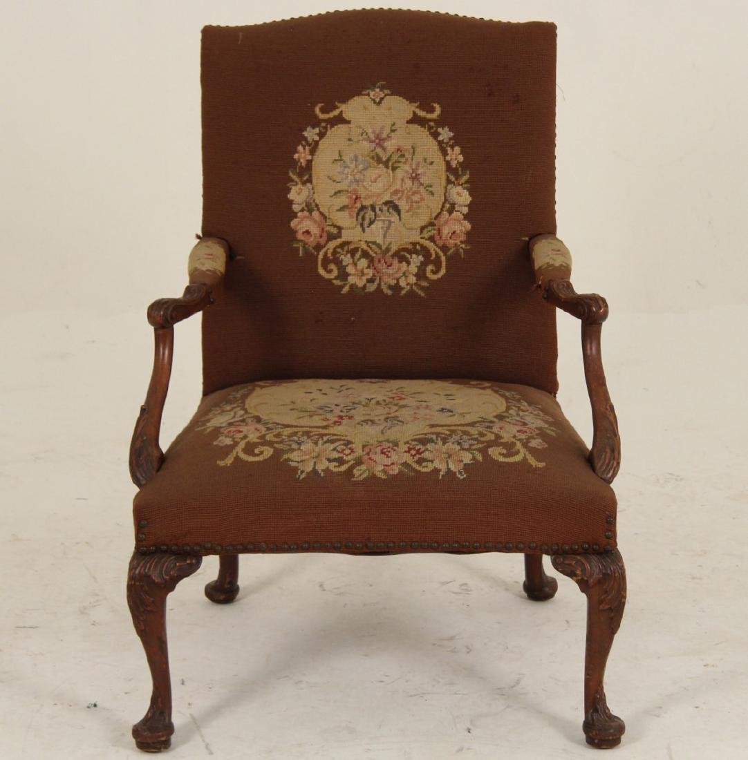 MAHOGANY NEEDLEPOINT GAINSBORO STYLE ARM CHAIR - 2