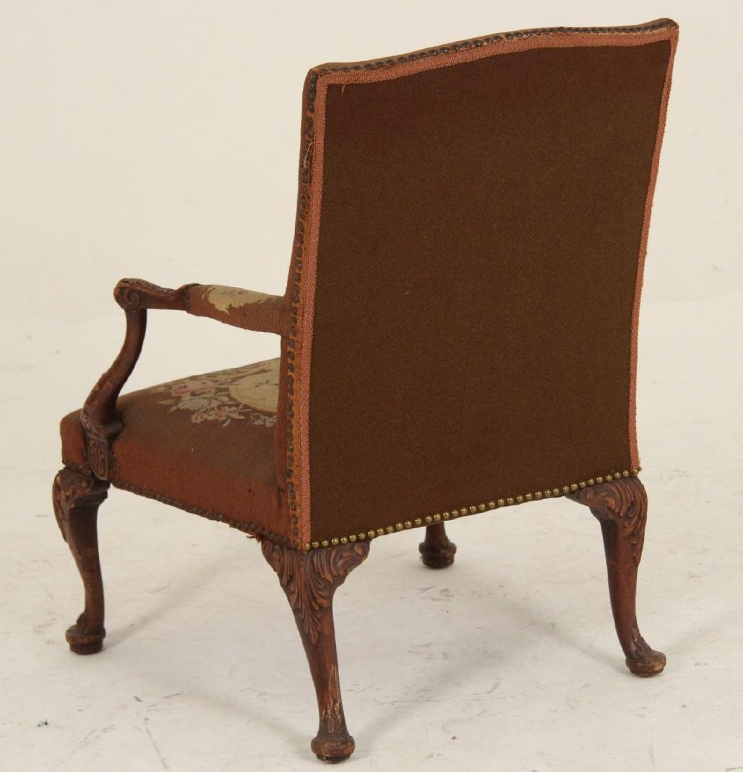 MAHOGANY NEEDLEPOINT GAINSBORO STYLE ARM CHAIR - 3