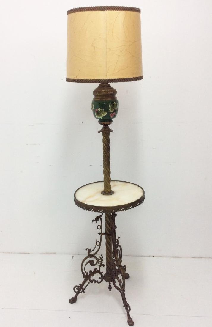 FRENCH BRONZE FLOOR LAMP WITH MAJOLICA FOUNT