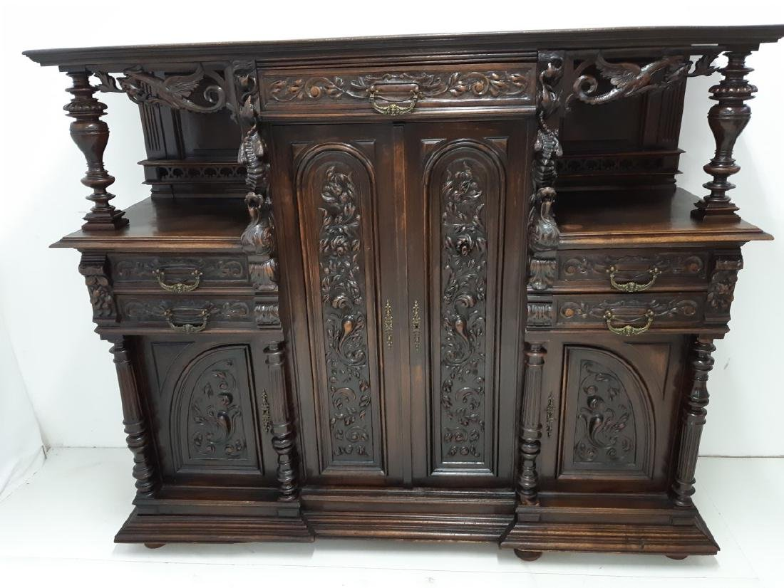 FRENCH CARVED WALNUT RENAISSANCE STYLE CABINET