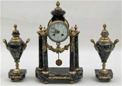 FRENCH BRONZE AND MARBLE 3 PC CLOCK SET