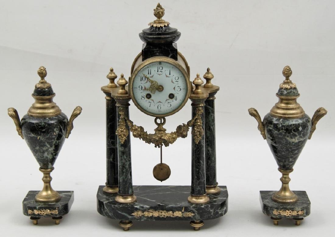 FRENCH BRONZE AND MARBLE 3 PC. CLOCK SET