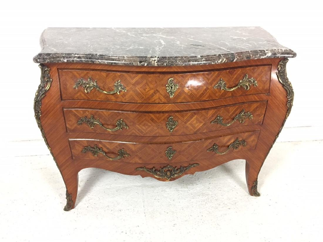 LOUIS XV STYLE BOMBE SHAPED COMMODE