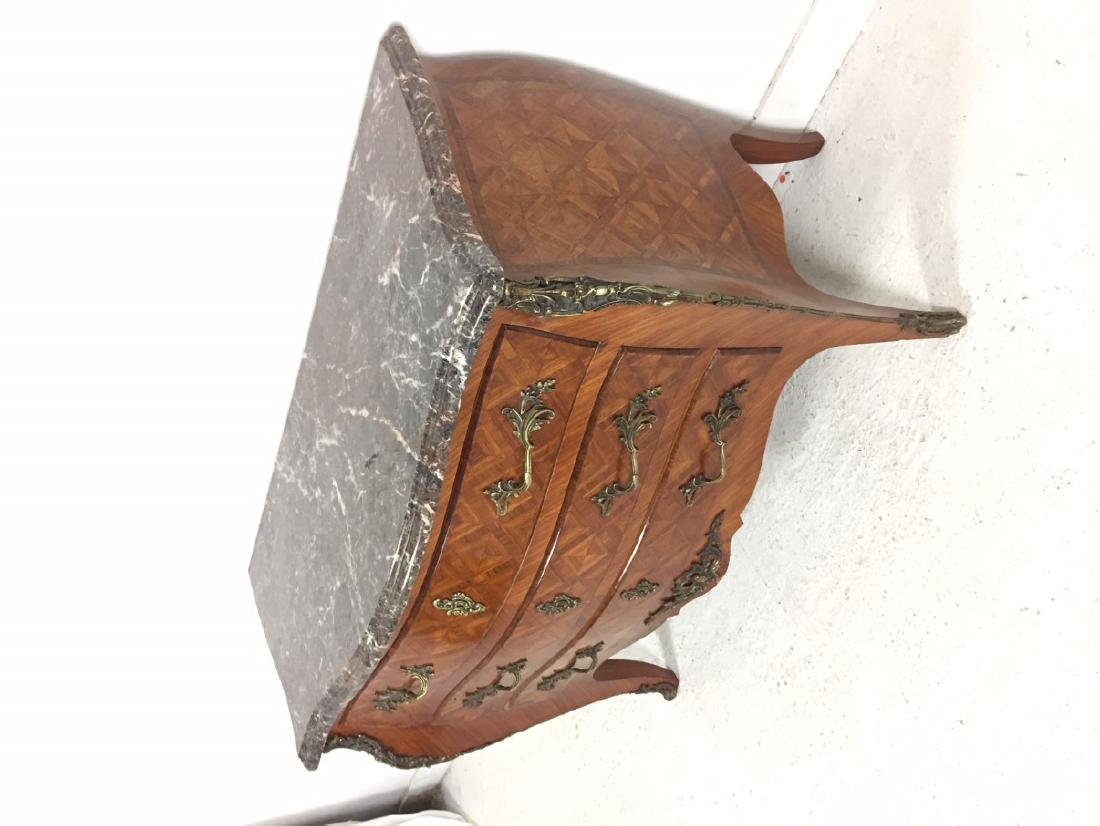 LOUIS XV STYLE BOMBE SHAPED COMMODE - 2