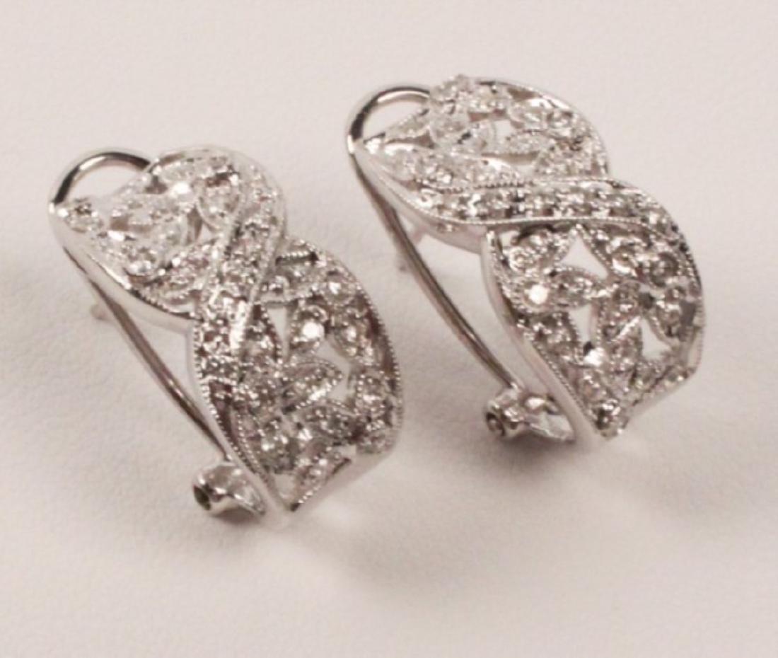 PR. OF 14K WHITE GOLD DIAMOND EARRINGS