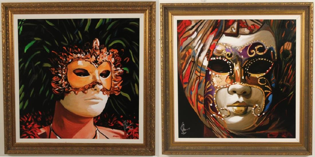 PAIR OF MIXED MEDIA GICLEE PRINTS, SIGNED AND NUMBERED