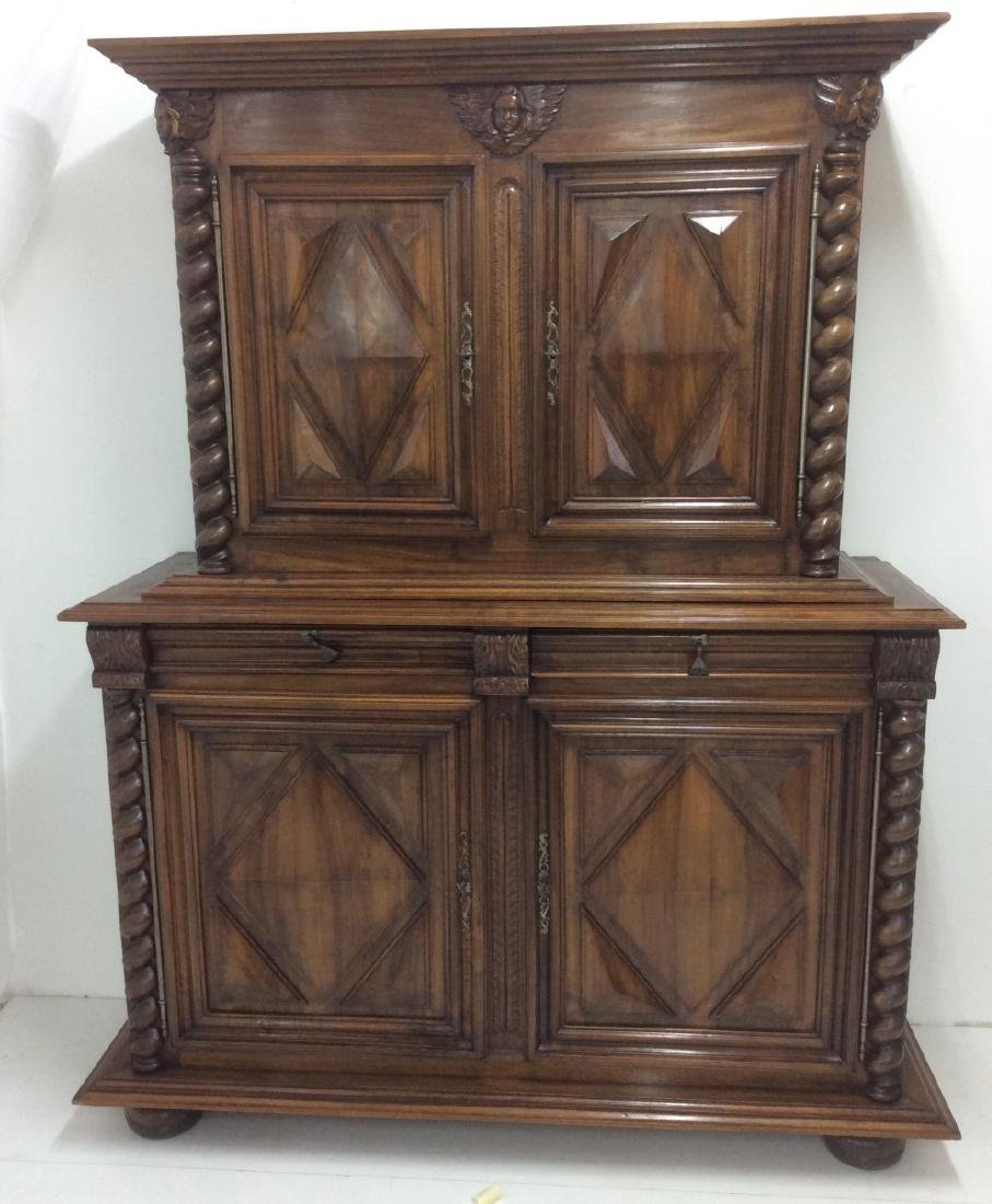 19TH C. LOUIS XIII STYLE WALNUT 2 PART CABINET