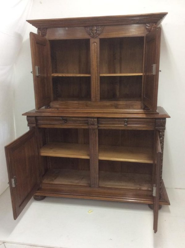 19TH C. LOUIS XIII STYLE WALNUT 2 PART CABINET - 2