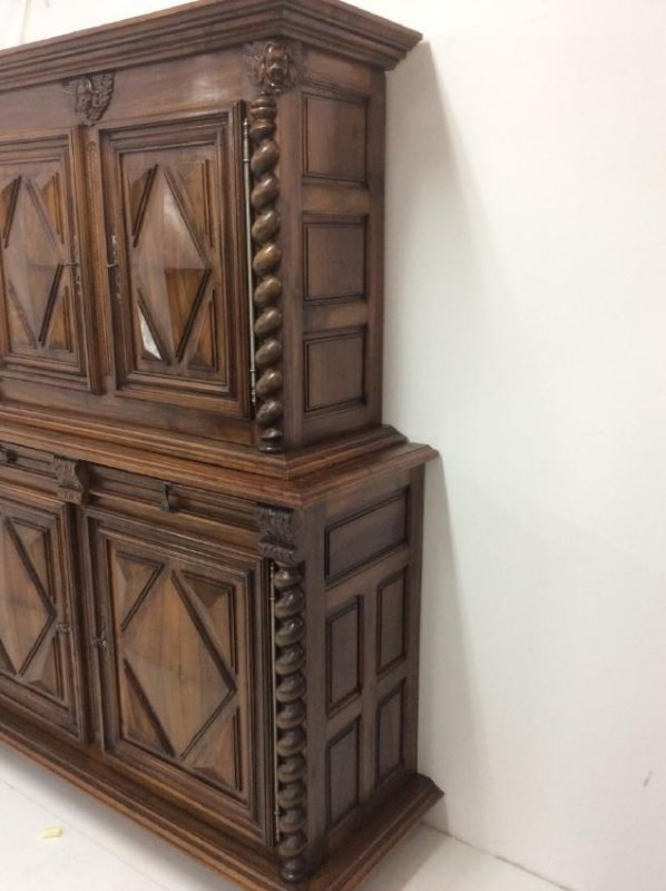 19TH C. LOUIS XIII STYLE WALNUT 2 PART CABINET - 5