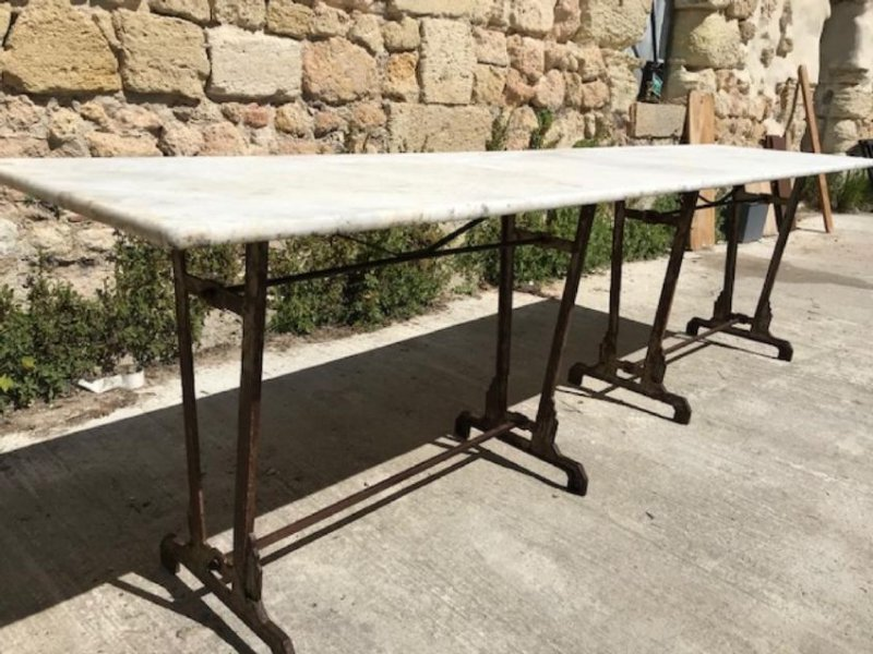 FRENCH MARBLE TOP PASTRY TABLE - 2