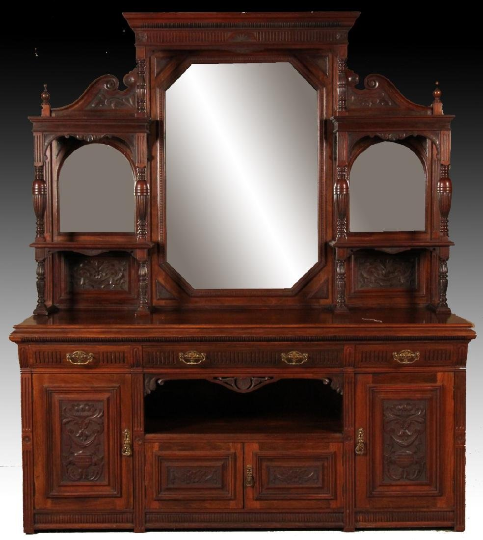ENGLISH MAHOGANY MIRROR BACK SIDEBOARD