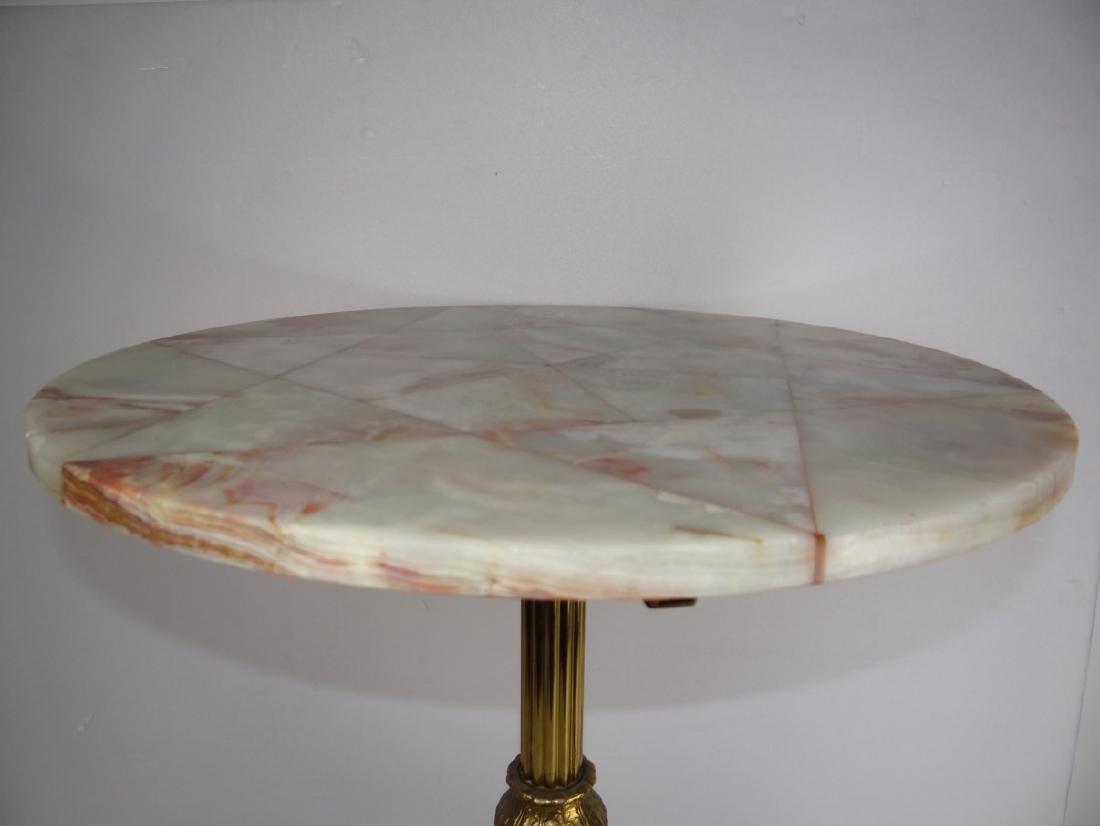 CIRCULAR BRONZE PEDESTAL TABLE W/ONYX TOP - 3