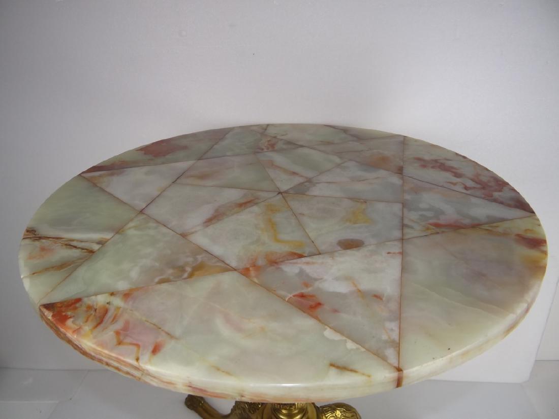 CIRCULAR BRONZE PEDESTAL TABLE W/ONYX TOP - 4