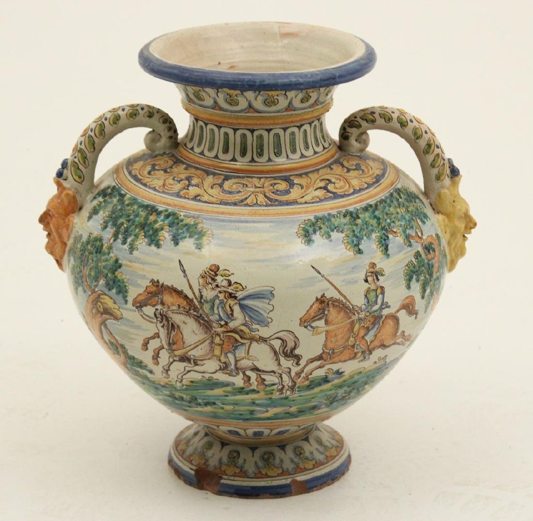 LARGE FAIENCE DOUBLE HANDLED WATER VESSEL