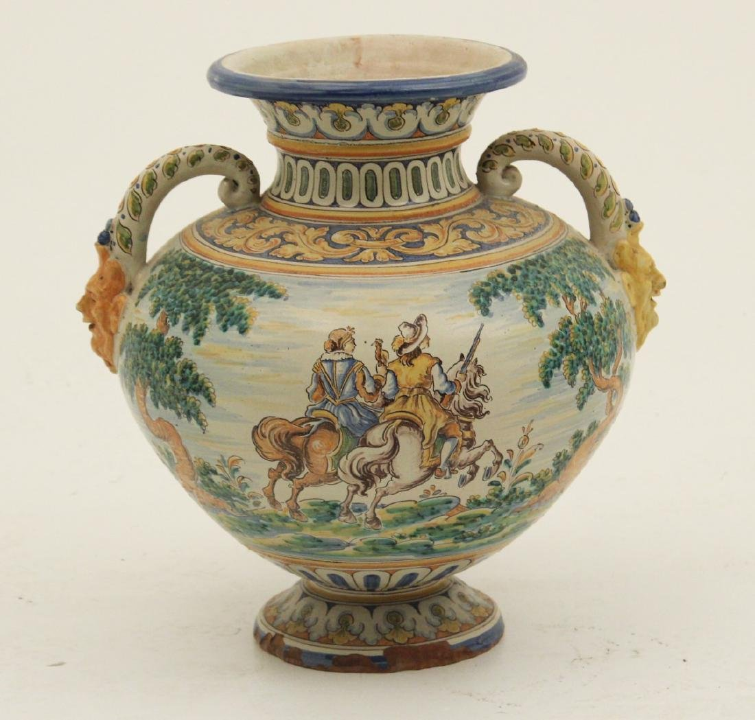 LARGE FAIENCE DOUBLE HANDLED WATER VESSEL - 2