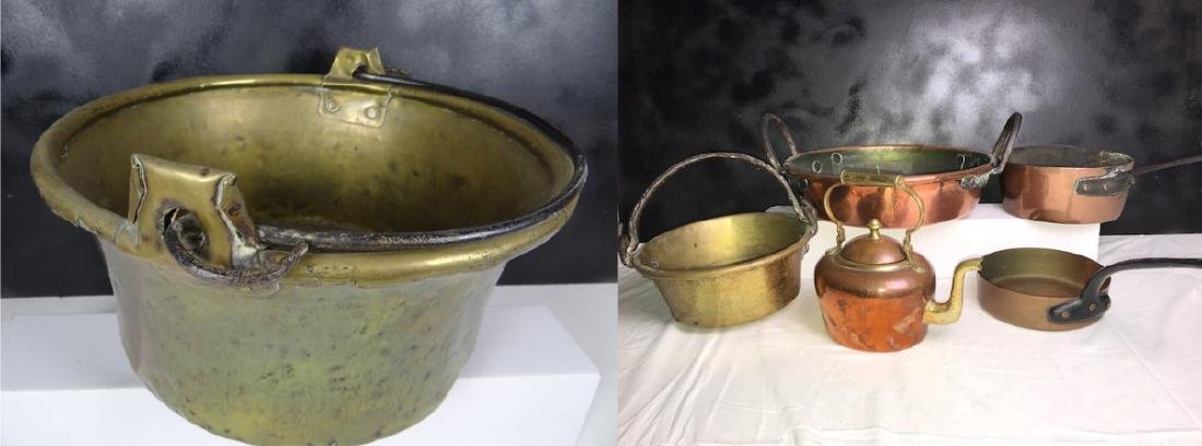 6 PC. MISC. LOT OF EARLY COPPER/BRASS COOKING VESSELS