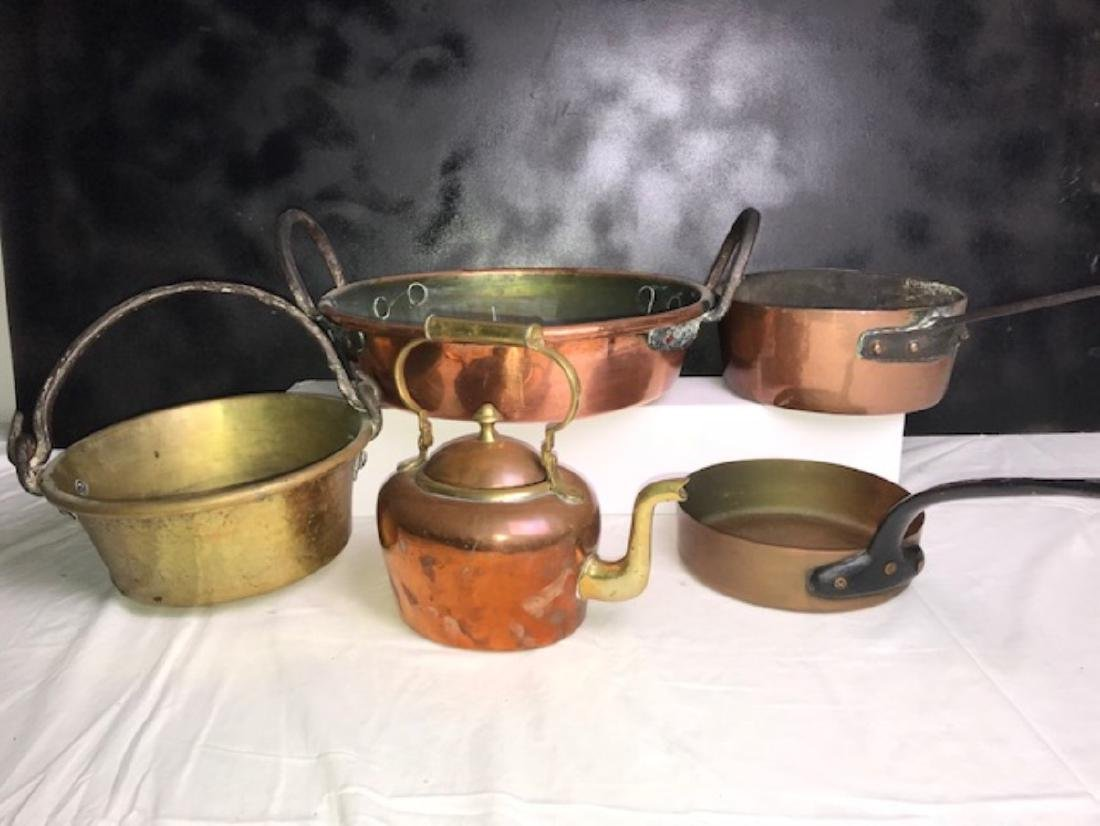 6 PC. MISC. LOT OF EARLY COPPER/BRASS COOKING VESSELS - 2