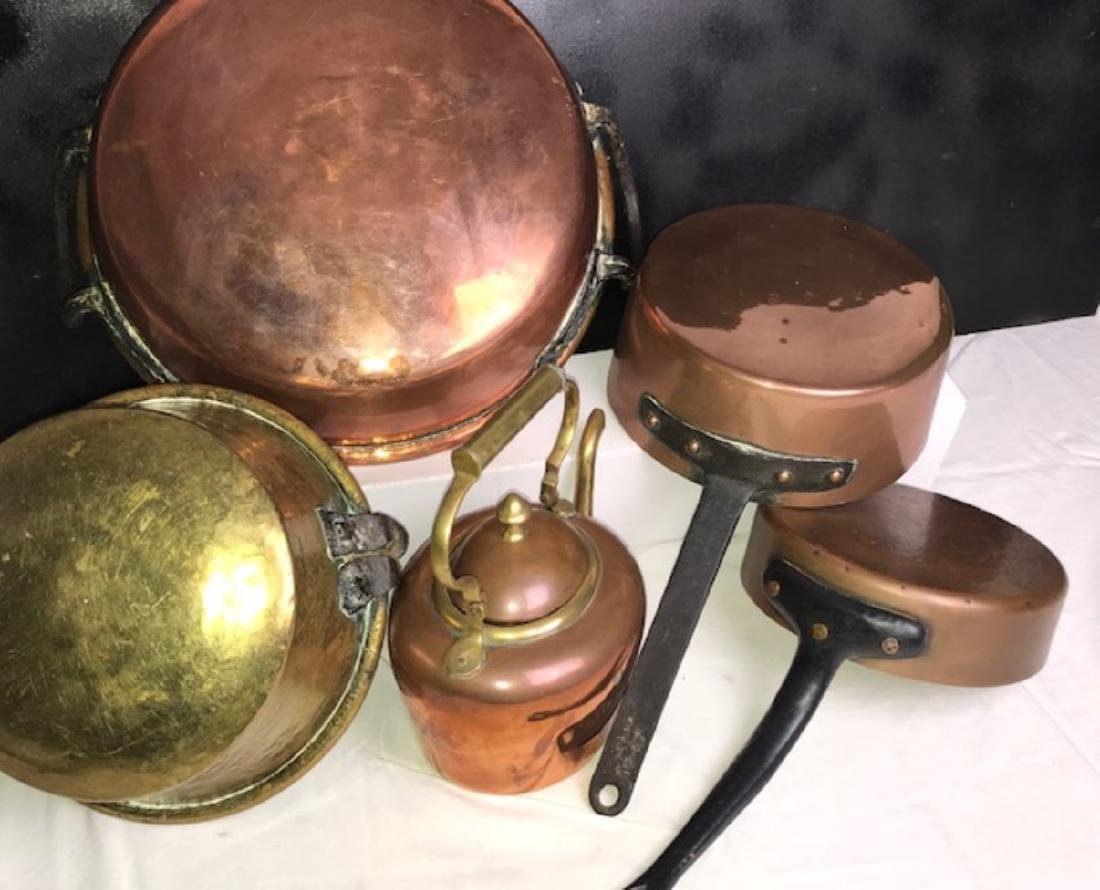6 PC. MISC. LOT OF EARLY COPPER/BRASS COOKING VESSELS - 3