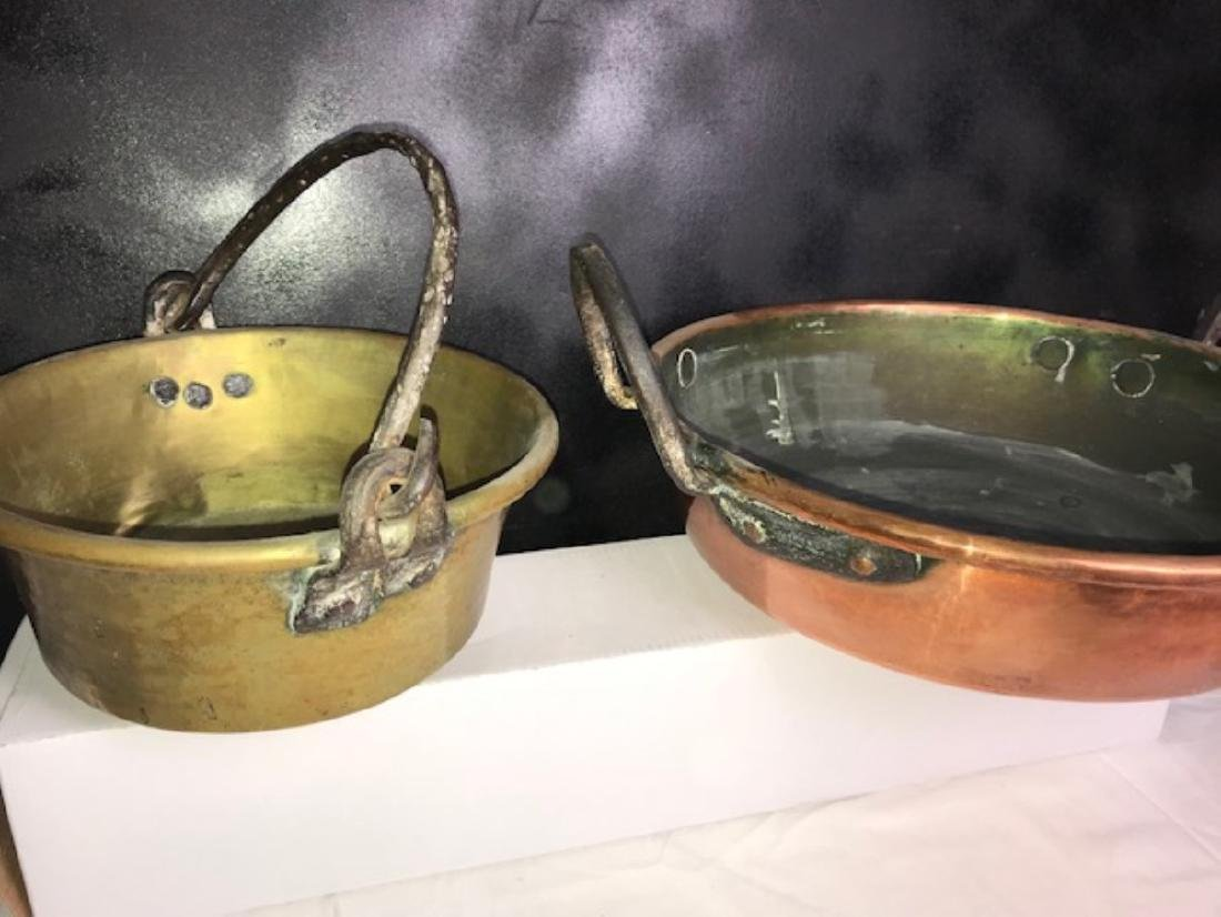 6 PC. MISC. LOT OF EARLY COPPER/BRASS COOKING VESSELS - 4