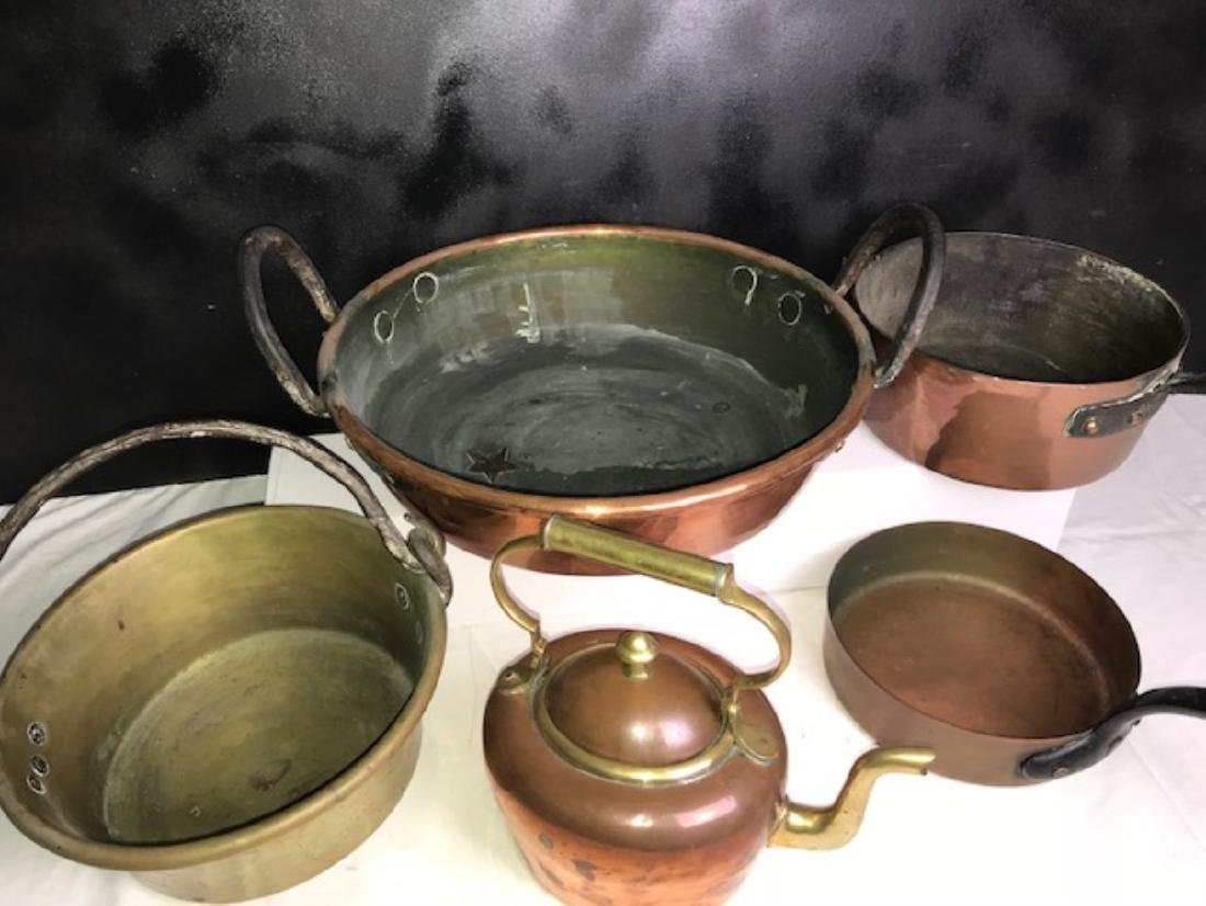 6 PC. MISC. LOT OF EARLY COPPER/BRASS COOKING VESSELS - 5