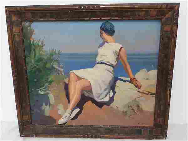 R. GRAS, 20TH C. O/C PAINTING OF YOUNG WOMAN