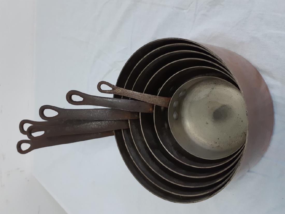 6 GRADUATING COPPER ZINC LINED CULINARY PANS - 4