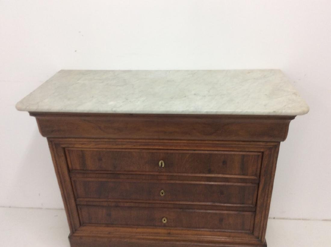 LOUIS PHILIPPE WALNUT  MARBLE TOP COMMODE - 4