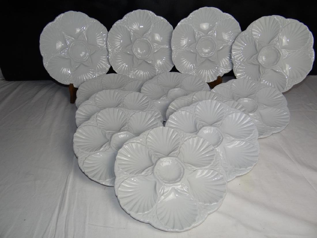 SET OF 12 FRENCH FAIENCE OYSTER PLATES
