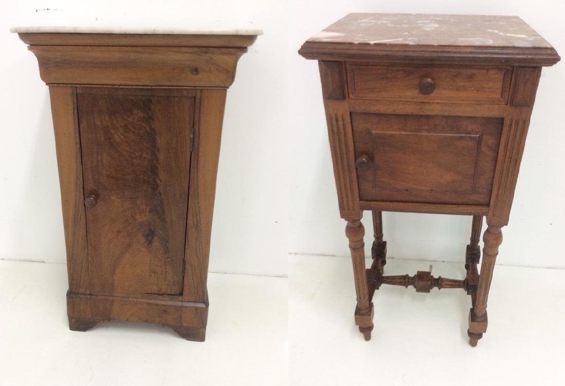 2 MISC. FRENCH WALNUT M/TOP BEDSIDE CABINETS