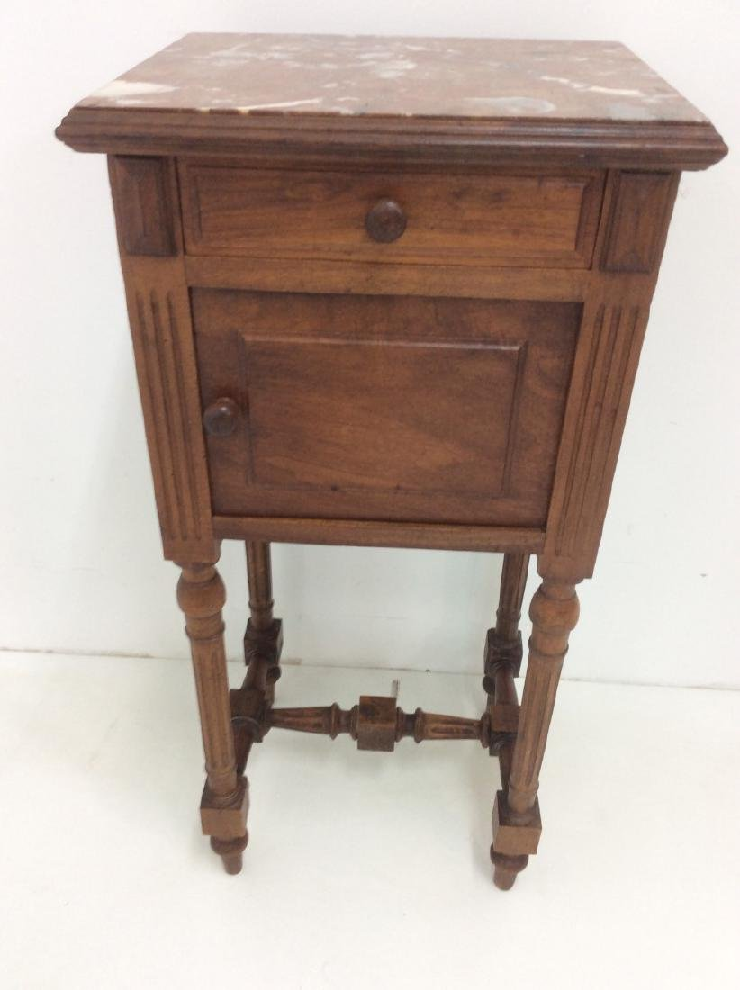 2 MISC. FRENCH WALNUT M/TOP BEDSIDE CABINETS - 2