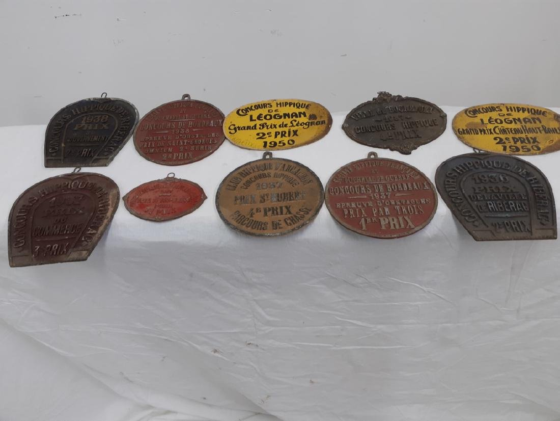 LOT OF FRENCH METAL HORSE SHOW NAME PLATES