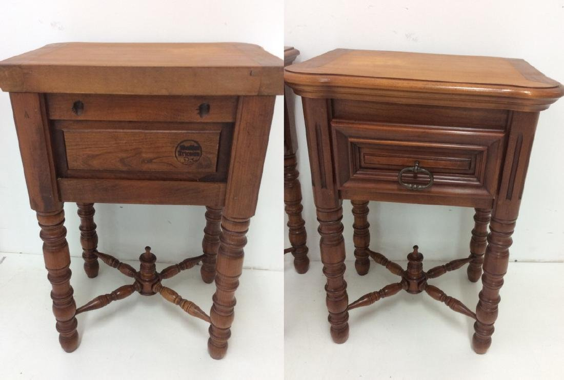 PAIR OF FRENCH SOLID CHERRY ONE DRAWER STANDS