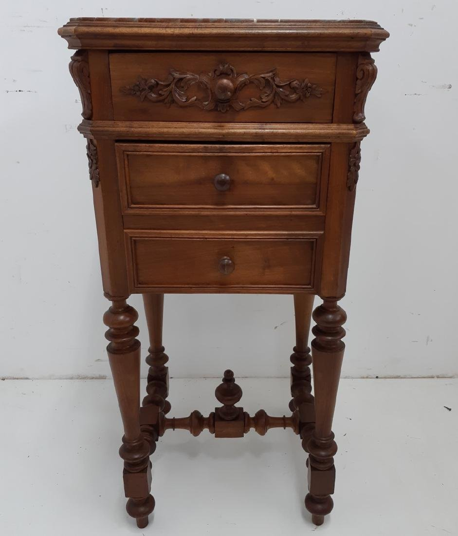 FRENCH PROVINCIAL WALNUT M/TOP CHEVET