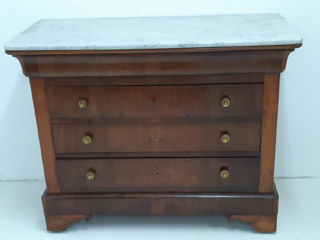 FRENCH LOUIS WALNUT MARBLE TOP COMMODE