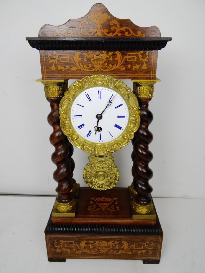 19TH C. MARQUETRY INLAID PORTICO CLOCK