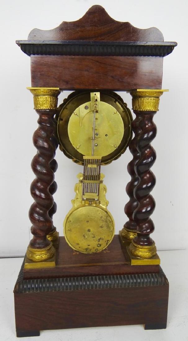 19TH C. MARQUETRY INLAID PORTICO CLOCK - 6