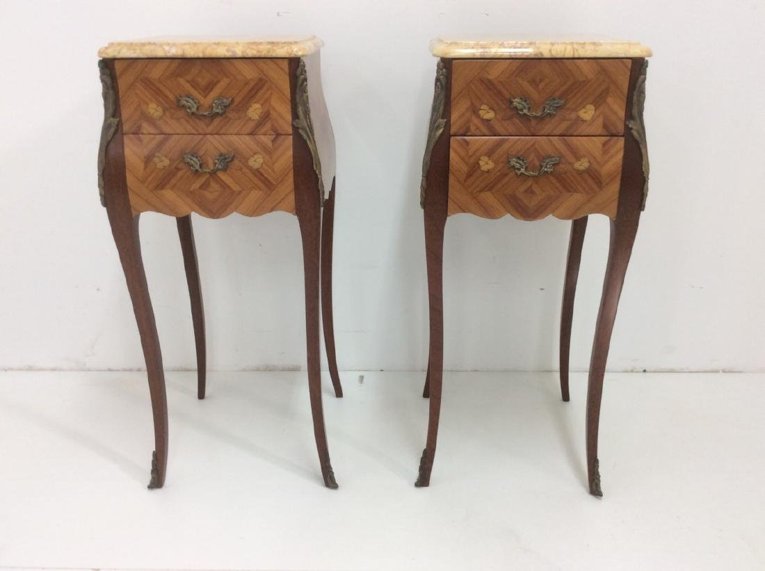 PR. OF LOUIS XV STYLE M/TOP BEDSIDE COMMODES