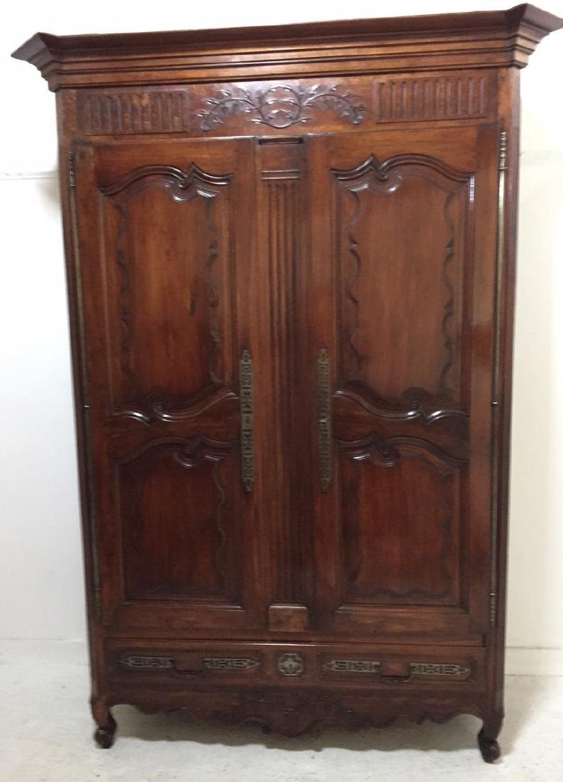 19TH C. LOUIS XV STYLE WALNUT ARMOIRE
