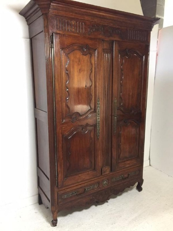 19TH C. LOUIS XV STYLE WALNUT ARMOIRE - 2
