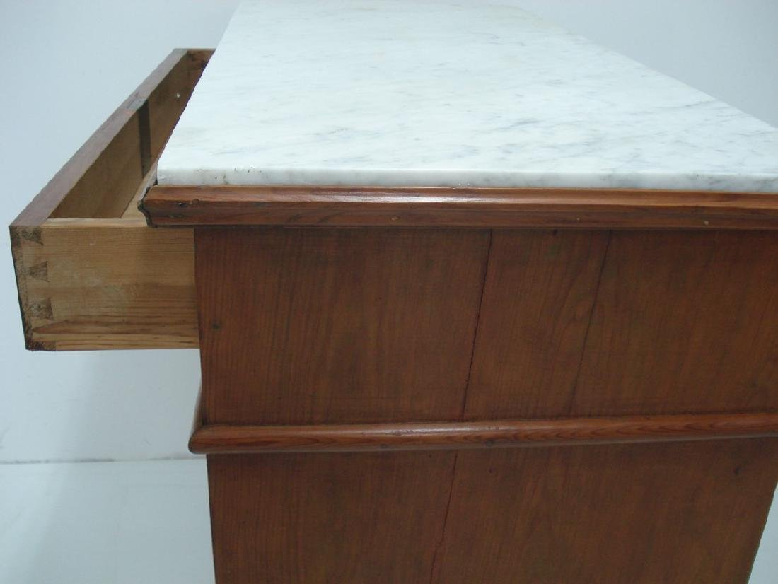 FRENCH LOUIS PHILIPPE MARBLE TOP PINE CHEST - 5