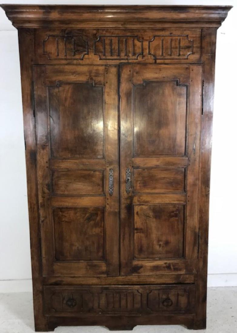 PROVINCIAL FRENCH SOLID WALNUT PANTRY CABINET