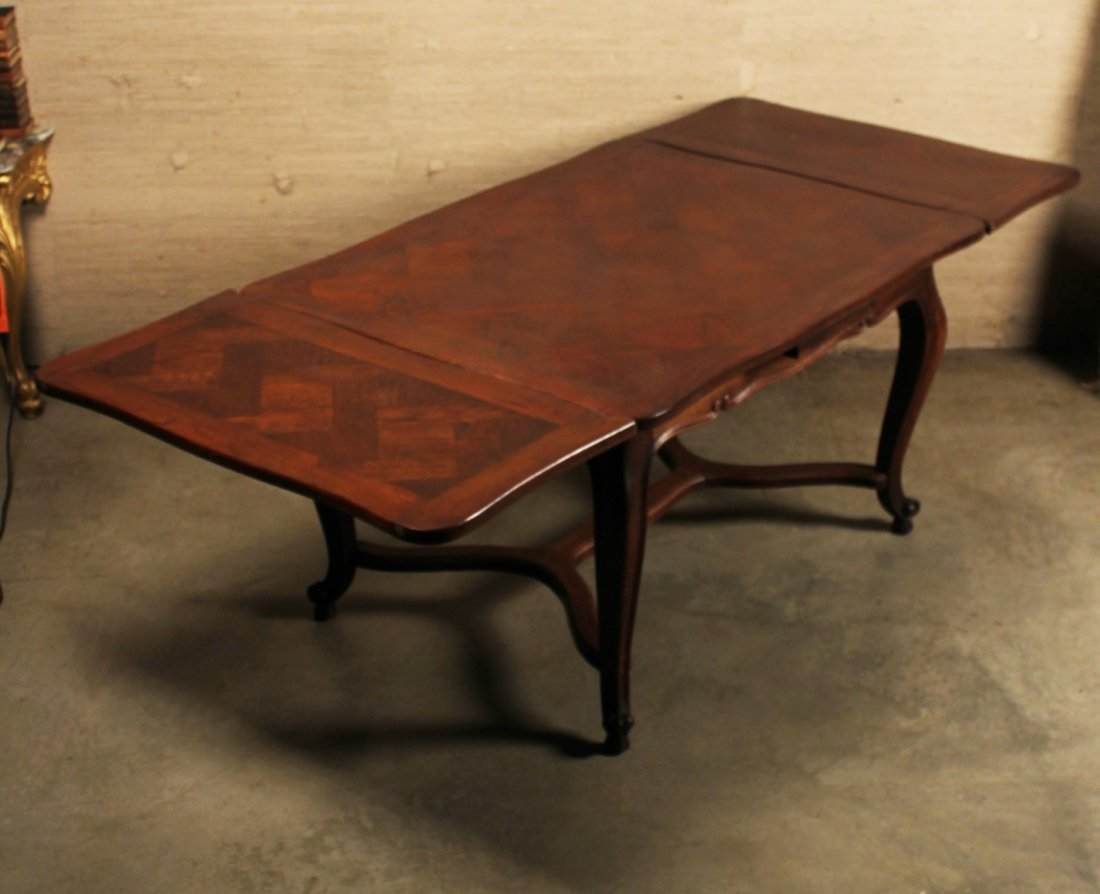 FRENCH LOUIS XV STYLE OAK DRAW LEAF TABLE - 2