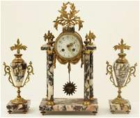 FRENCH GILT BRONZE AND MARBLE 3 PIECE CLOCK SET