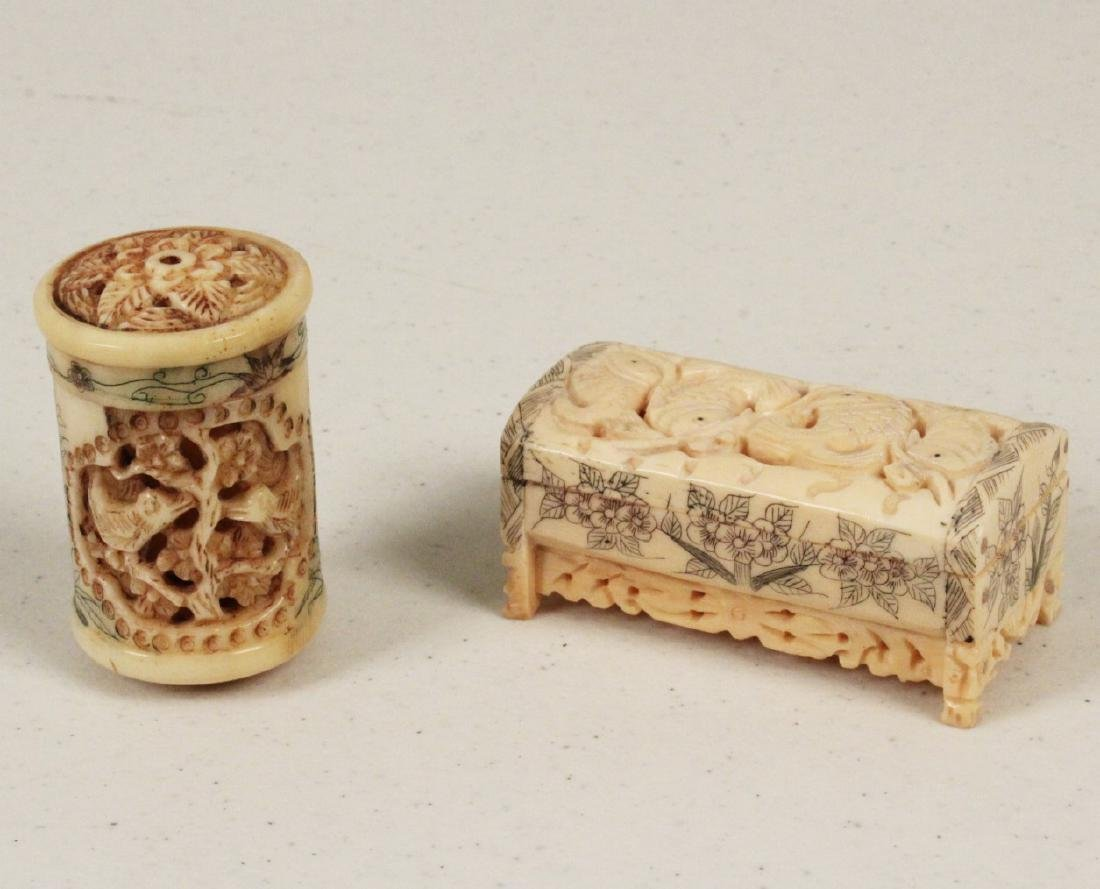 2 MISC. ORIENTAL PERFORATED CARVED SCENT JARS